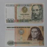 LOT 2 bancnote PERU,500 si 1000 intis,NEUZATE!