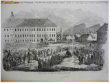 * Litografie Sibiu - Hermanstadt 1846 - autentica
