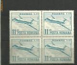 Romania 1983 -  POSTA AERIANA AVION ROMBAC 1-11, timbru MNH in BLOC DE 4, R7, Transporturi, Nestampilat
