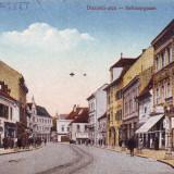 Romania,Nagyszeben,Sibiu, carte postala necirculata 1918: Strada Disznodi,animat