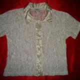 Bluza crem transparenta model dragut - Bluza dama, Maneca scurta, Universala, Argintiu
