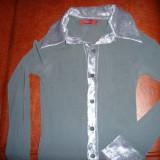 Bluza tip camasuta, gri inchis, transparenta - Bluza dama, Maneca lunga, Casual, Camel, Catifea