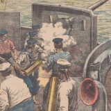 Ziarul Universul : artileria navala italiana (1915, gravura) - Fotografie veche