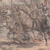 Universul : o sarja a cavaleriei engleze (1915, gravura) - Fotografie veche