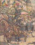 Ziarul Universul : primirea triumfala a Reginei Elisabeta (1908),gravura