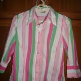 Camasa/ Bluza in dungi, marime M - Camasa dama, Maneca 3/4, Casual, Crem, Bumbac, M
