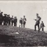 Fotografie URIASA carton 23x29 cm, aplicatia scolii de geniu 1936-vizita Comandantului Inspectoratului general al Geniului-Generalul Iorgulescu - Fotografie veche