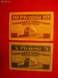 2 Bancnote-Jeton 5 si 10 Pf -magazin Coloniale 1921Germania