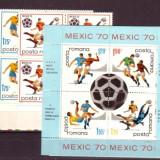 Romania L729, 29a.4x+4 CM fotbal Mexic-70 bloc 4+4colite - Timbre Romania
