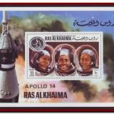 Ras Al Khaima 1972 - Misiunea spatiala Apollo 14, colita nedantelata MNH, Cosmos - Timbre straine, Spatiu, Nestampilat