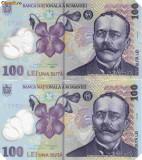 BANCNOTA ROMANIA 100 lei 2006 eroare tipar gm 150 redus
