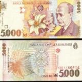 Bacnota 5000 lei, 1998, filigram profil Blaga intr-o parte - Bancnota romaneasca