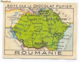 1405 - Harta ROMANIA MARE Cernauti Iasi Chisinau (5 / 7 cm) - mini postcard 1927