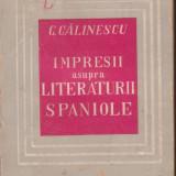 G.Calinescu / Impresii asupra literaturii spaniole (ed.I - 1946) - Carte Editie princeps