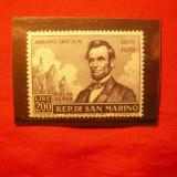 Serie 130 Ani- A. Lincoln 1959 San Marino, 1 val. - Timbre straine