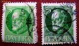 Cumpara ieftin 1914 Bavaria Bayern 2 timbre 5pf. varietati de verde