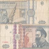 500 LEI decembrie 1992 uzata - Bancnota romaneasca
