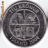 Islanda 10 KRONUR 2004  iconografie superba,fauna marina:pesti