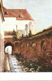 Carte postala ilustrata Pasaj langa zidul vechi - Sibiu