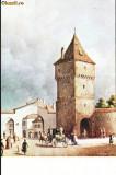 Carte postala ilustrata Poarta Sag din Sibiu, dinspre exterior