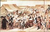 Carte postala ilustrata Iarmaroc la Sibiu,la 1788