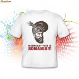 Tricou This is Romania, Alb, Maneca scurta, Bumbac