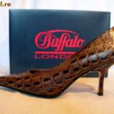 "Pantofi ""croco"" piele (781-62 CROCO BROWN) Buffalo - Pantof dama Buffalo, Culoare: Maro, Marime: 39, 40, 41, Piele naturala"
