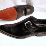Pantofi barbati, cu catarama, piele integral, italieni (LAMBERTO) - FERREDIMANI - REDUCERE EXCEPTIONALA DE PRET, Marime: 43, 44, Culoare: Negru, Piele naturala