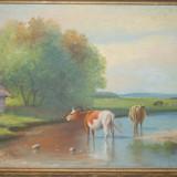 Radovics - Vacute la marginea satului, pictura in ulei pe carton, vaci - Pictor roman, Natura, Realism