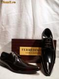 SOLDURI - Pantofi italieni negri cu reflexe visinii MARCO - FERREDIMANI