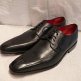 Pantofi Lord Byron, piele integral, negri, (A7 - 63 BLACK) - Pantofi barbat, Marime: 40, 41, 45, Culoare: Negru, Piele naturala
