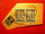 Fragment cu pereche Carol II calare 1932+ 50 Bani T.Aviatiei