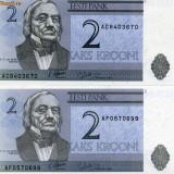 Estonia 2 krooni 2 bancnote, necirculate, consecutive