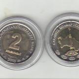 Bnk mnd turkmenistan 2 manat 2010 unc, bimetal