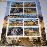 UGANDA 2008 - WWF- HIENE -MINISHEET 2 SERII - NEUZATE - Timbre straine