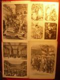 Colectie 23 Printuri dupa gravuri franceze de sfarsit sec.XIX ,semnate