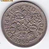 Marea Britanie-Anglia SIX PENCE 1960,Elizabeth II. XF/a.UNC (2)
