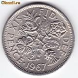 Marea Britanie-Anglia SIX PENCE 1966, Elizabeth II. XF/a.UNC (2)