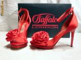 Minunate ! Sandale de gala pentru femei ,rosii , din saten (9900-380 RED)  REDUCERE EXCEPTIONALA DE PRET, 36, 38 - 41, Rosu, Buffalo