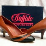 Pantofi piele maro cu negru  (107-12929 DARK)