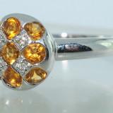 Superb inel aur alb 14K cu citrine si diamante naturale 1.04CT, 46 - 56