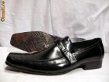 Pantofi italieni FERREDIMANI fara sireturi cu catarama ENZO, 39 - 44, Negru, Piele naturala