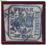 Romania 1862 - Principatele Unite 30 Parale EROARE dubla impresiune, tipar dublu, Istorie, Stampilat