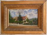 Gara Bistrita 1901 , pictura veche in ulei pe panza
