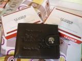 Portofel negru Bailini capsa siguranta material combinat piele si piele eco