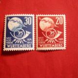 Serie -75 Ani UPU 1949 Wurttemberg-Hohenzollern, 2 val.