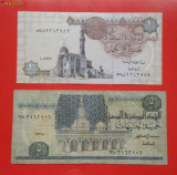 Lot 2 bancnote Egypt 1 lira / pound UNC necirculata 5 lire / pounds