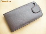 Cumpara ieftin Toc din piele maro iphone 4 prindere curea  + folie fata spate cadou