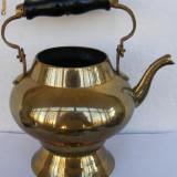 Ceainic din alama cu miner din lemn - Metal/Fonta