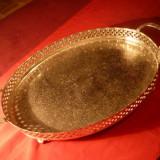 TAVA DE SERVIT, ANGLIA, cu picioruse, metal argintat